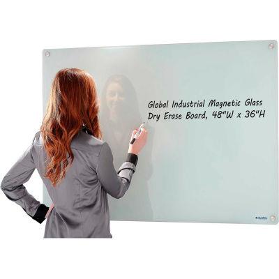 Global Industrial™ Magnetic Glass Whiteboard - 48 x 36 - White