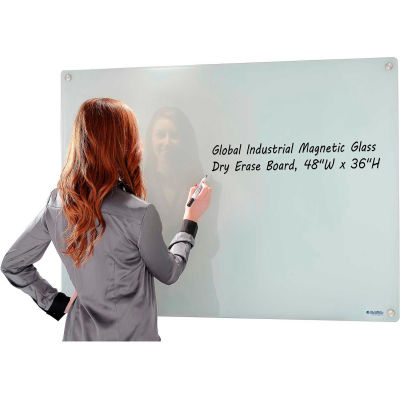 "Global Industrial™ Wall-Mounted Magnetic Glass Whiteboard, 48""W x 36""H"