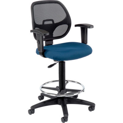 Interion® Drafting Stool - Fabric - Blue