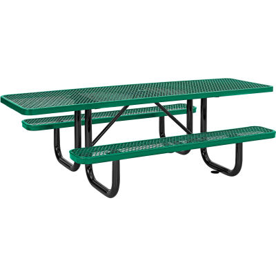 Global Industrial™ 8 ft. ADA Outdoor Steel Picnic Table, Expanded Metal, Green