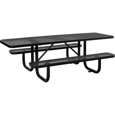 8 ft. ADA Outdoor Steel Picnic Table - Expanded Metal - Black