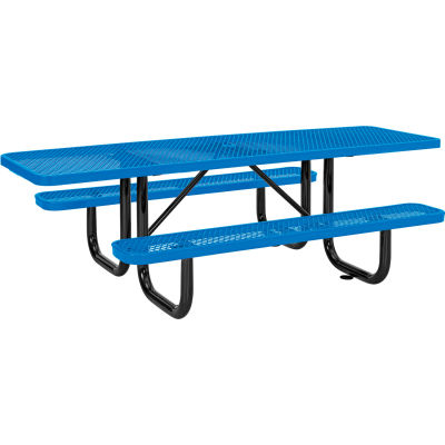 8 ft. ADA Outdoor Steel Picnic Table - Expanded Metal - Blue