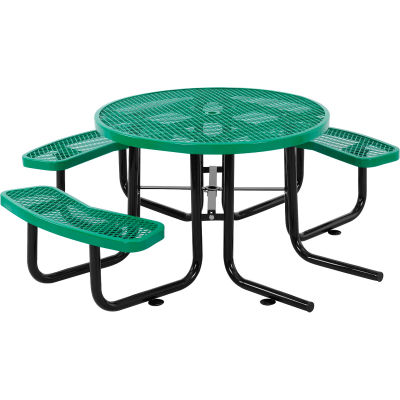 """Global Industrial™ 46"""" Wheelchair Accessible Round Outdoor Steel Picnic Table, Green"""