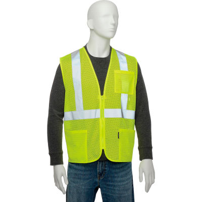 "Global Industrial Class 2 Hi-Vis Safety Vest, 2"" Reflective Strips, Polyester Mesh, Lime, Size L"