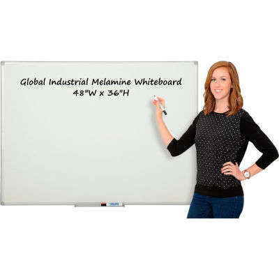 Global Industrial™ Melamine Dry Erase Whiteboard - 48 x 36 - Double Sided