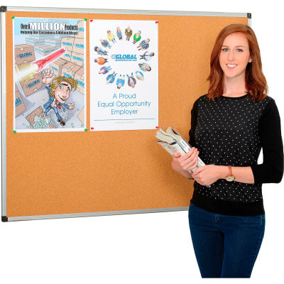 Global Industrial™ Cork Bulletin Board - 48 x 36 - Aluminum Frame