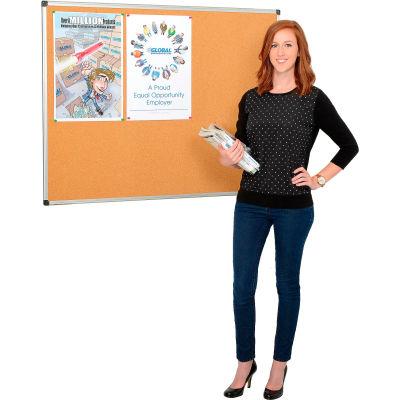 Global Industrial™ Cork Bulletin Board - 5' x 3' - Aluminum Frame