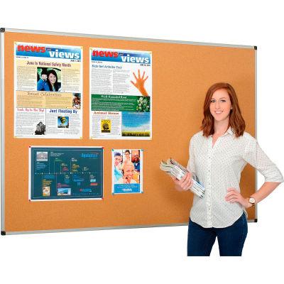 Global Industrial™ Cork Bulletin Board - 72 x 48 - Aluminum Frame