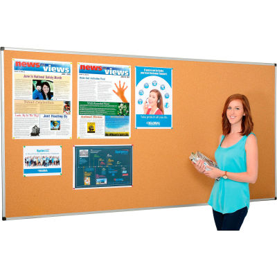 "Global Industrial™ Cork Bulletin Board With Aluminum Frame, 96"" x 48"""