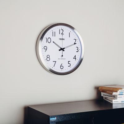 "Global Industrial™ Atomic Wall Clock 14"" Stainless Steel"