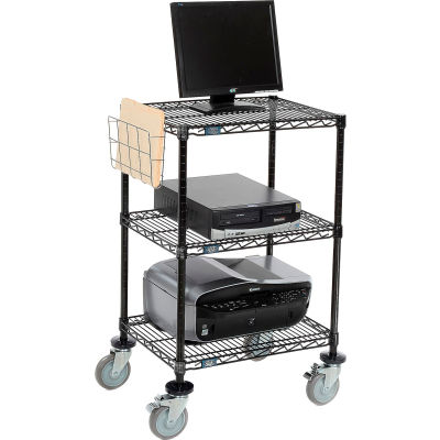 """Nexel™ 3-Shelf Mobile Wire Printer Stand with Document Holder, 24""""W x 18""""D x 40""""H, Black"""