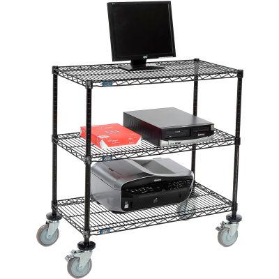 """Nexel™ 3-Shelf Mobile Wire Computer LAN Workstation, 36""""W x 18""""D x 40""""H, Black"""