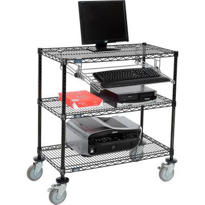 """Nexel™ 3-Shelf Mobile Wire Computer LAN Workstation w/Keyboard Tray, 36""""W x 18""""D x 40""""H, Black"""