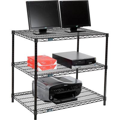"Nexel™ 3-Shelf Wire Computer LAN Workstation, 36""W x 24""D x 34""H, Black"