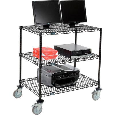 """Nexel™ 3-Shelf Mobile Wire Computer LAN Workstation, 36""""W x 24""""D x 40""""H, Black"""