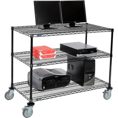 """Nexel™ 3-Shelf Mobile Wire Computer LAN Workstation, 48""""W x 24""""D x 40""""H, Black"""