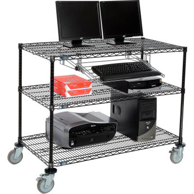 "Nexel™ 3-Shelf Mobile Wire Computer LAN Workstation w/Keyboard Tray, 48""W x 24""D x 40""H, Black"