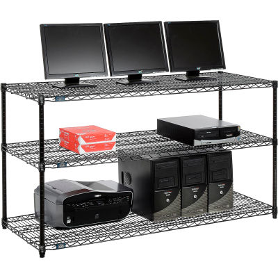 "Nexel™ 3-Shelf Wire Computer LAN Workstation, 60""W x 24""D x 34""H, Black"