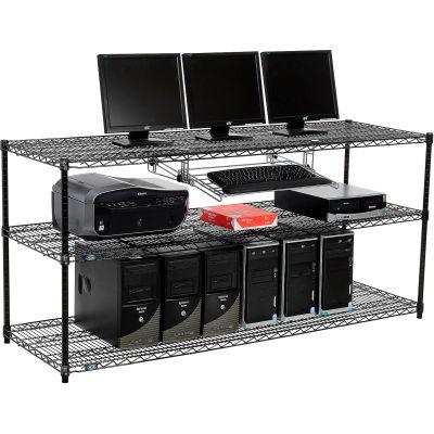 "Nexel™ 3-Shelf Wire Computer LAN Workstation with Keyboard Tray, 72""W x 24""D x 34""H, Black"