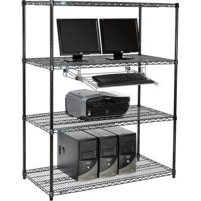 "Nexel™ 4-Shelf Wire Computer LAN Workstation with Keyboard Tray, 48""W x 24""D x 63""H, Black"
