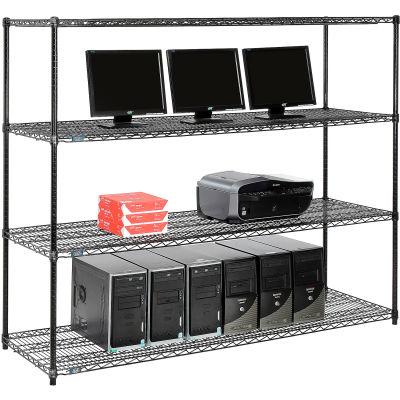 "Nexel™ 4-Shelf Wire Computer LAN Workstation, 72""W x 24""D x 63""H, Black"