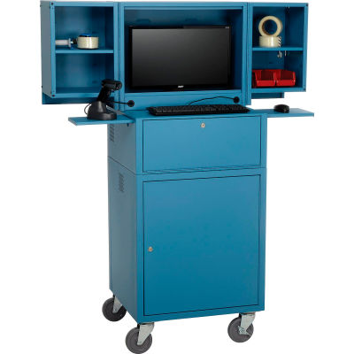 Global Industrial™ Mobile Fold-Out Computer Security Cabinet, Blue, Unassembled