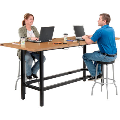 "Interion® Standing Height Table With Power & MDF Top, 96""Lx36""W, Natural"