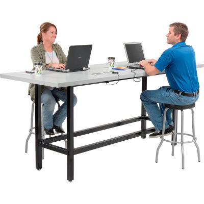"Interion® Standing Height Table with Power - 96""L x 36""W x 42""H - Laminate - Gray"