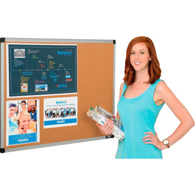 Global Industrial™ Cork Bulletin Board - 36 x 24 - Aluminum Frame