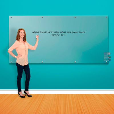 """Global Industrial™ Wall-Mounted Frosted Glass Dry Erase Board, 96""""W x 48""""H"""