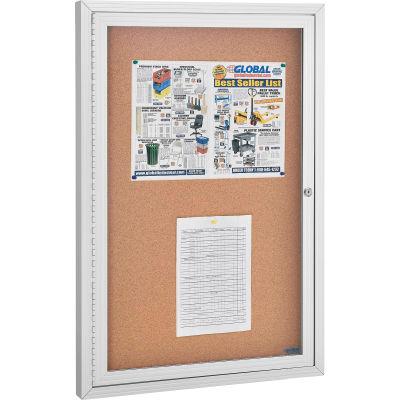 "Enclosed Bulletin Board - Cork - Aluminum Frame - 24"" x 36"" - 1 Door"
