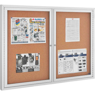 "Global Industrial™ 2 Door Enclosed Cork Bulletin Board With Aluminum Frame, 48"" x 36"""