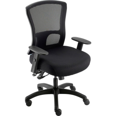 Interion® Big and Tall Mesh Back Chair With Asynchronous Tilt, Fabric Seat, Black