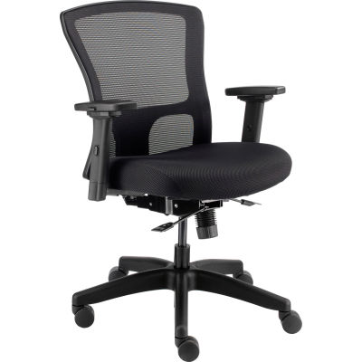 Interion® 24 Hour Mesh Back Chair With Mid Back & Adjustable Arms, Fabric, Black
