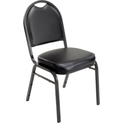 Interion® Banquet Chair With Mid Back, Vinyl, Black - Pkg Qty 4