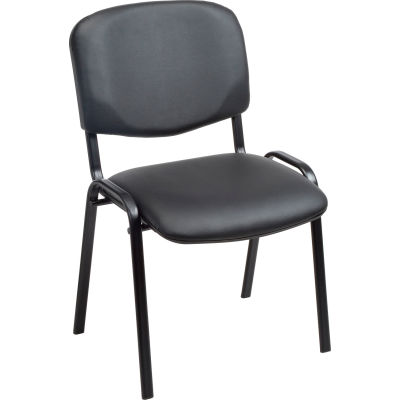 Interion® Stacking Guest Chair (Unassembled) - Vinyl - Black