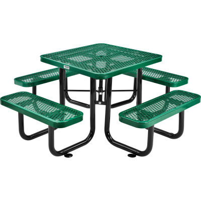Global Industrial™ 3 ft. Square Outdoor Steel Picnic Table, Expanded Metal, Green