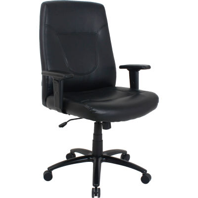 Interion® Big and Tall Executive Chair - Leather - High Back - Black