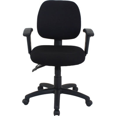 Interion® 24 Hour Task Chair With Mid Back, Adjustable Arms, Fabric, Black
