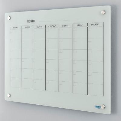 "Global Industrial™ Wall-Mounted Magnetic Glass Calendar Whiteboard, 36""W x 24""H"