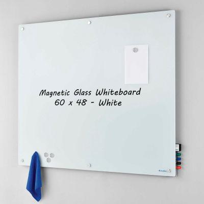 "Global Industrial™ Magnetic Glass Whiteboard, White, 60"" x 48"""