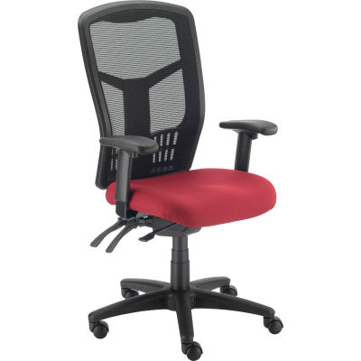 Interion® Mesh Office Chair With High Back & Adjustable Arms, Fabric, Red
