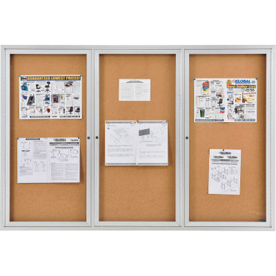 "Global Industrial™ Enclosed Bulletin Board - Cork - Aluminum Frame - 72"" x 48"" - 3 Door"