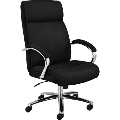 Interion® Office Chair With Lumbar Support, High Back & Fixed Arms, Fabric, Black