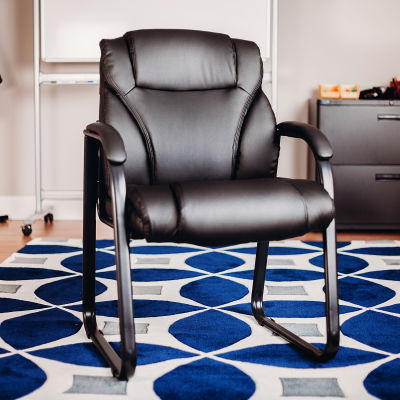 Interion® Bonded Leather Guest Chair - Black