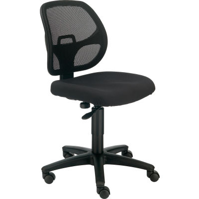 Interion® Armless Mesh Office Chair - Fabric - Black