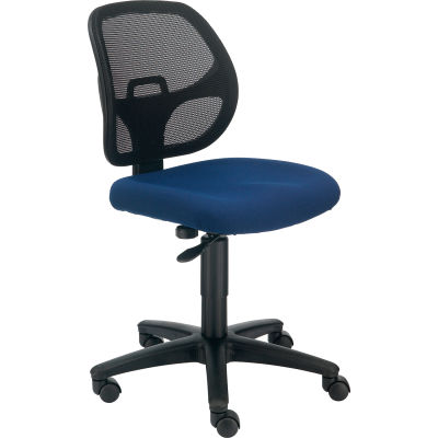 Interion® Armless Mesh Office Chair - Fabric - Blue