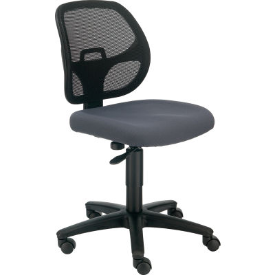 Interion® Armless Mesh Office Chair - Fabric - Gray