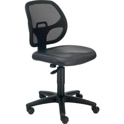 Interion® Armless Mesh Office Chair - Vinyl - Black