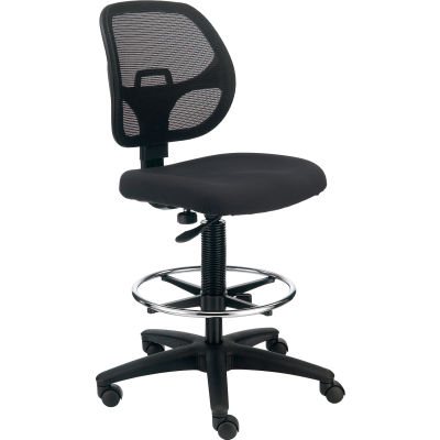 Interion® Armless Mesh Drafting Stool - Fabric - Black